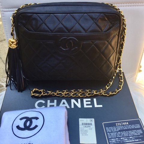 85d4341f886e CHANEL vintage camera bag with gold quilted lambskin gold of - Depop