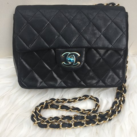 e2793c8f7f93 Chanel Vintage classic mini square flap bag in quilted flap - Depop