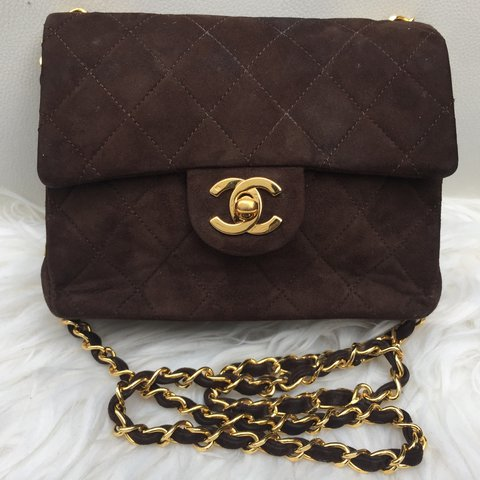 a2e4fe6c4c3e Chanel Vintage classic mini square flap bag in Brown quilted - Depop