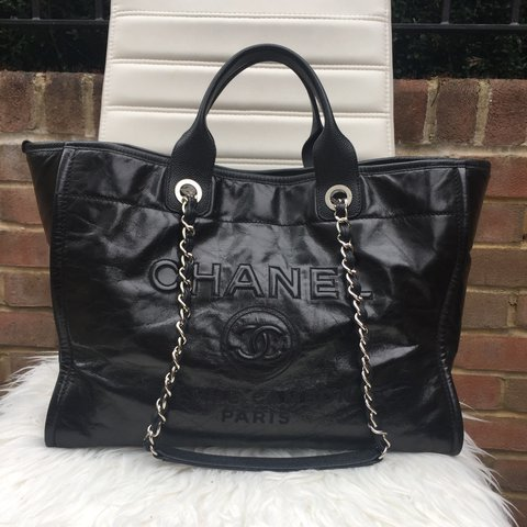 dcc716040120 Chanel Deauville Large Calfskin Tote Bag In Black 2016 chic - Depop