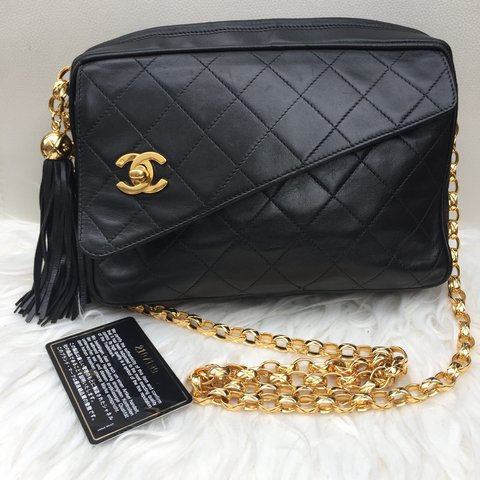 b47748b2421e CHANEL Vintage Camera Bag With Tassel Gold bijoux (french CC - Depop