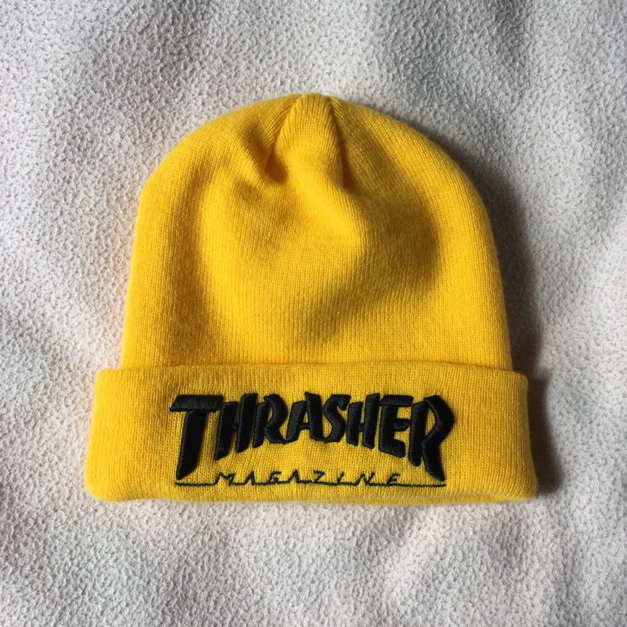 Yellow and black embroidered Thrasher beanie. Only worn once - Depop e149440de1e