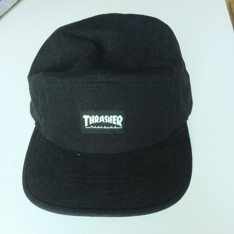 fb4a6c0298010 Thrasher Black 5 panel cap. Great condition. Doesn t suit my - Depop