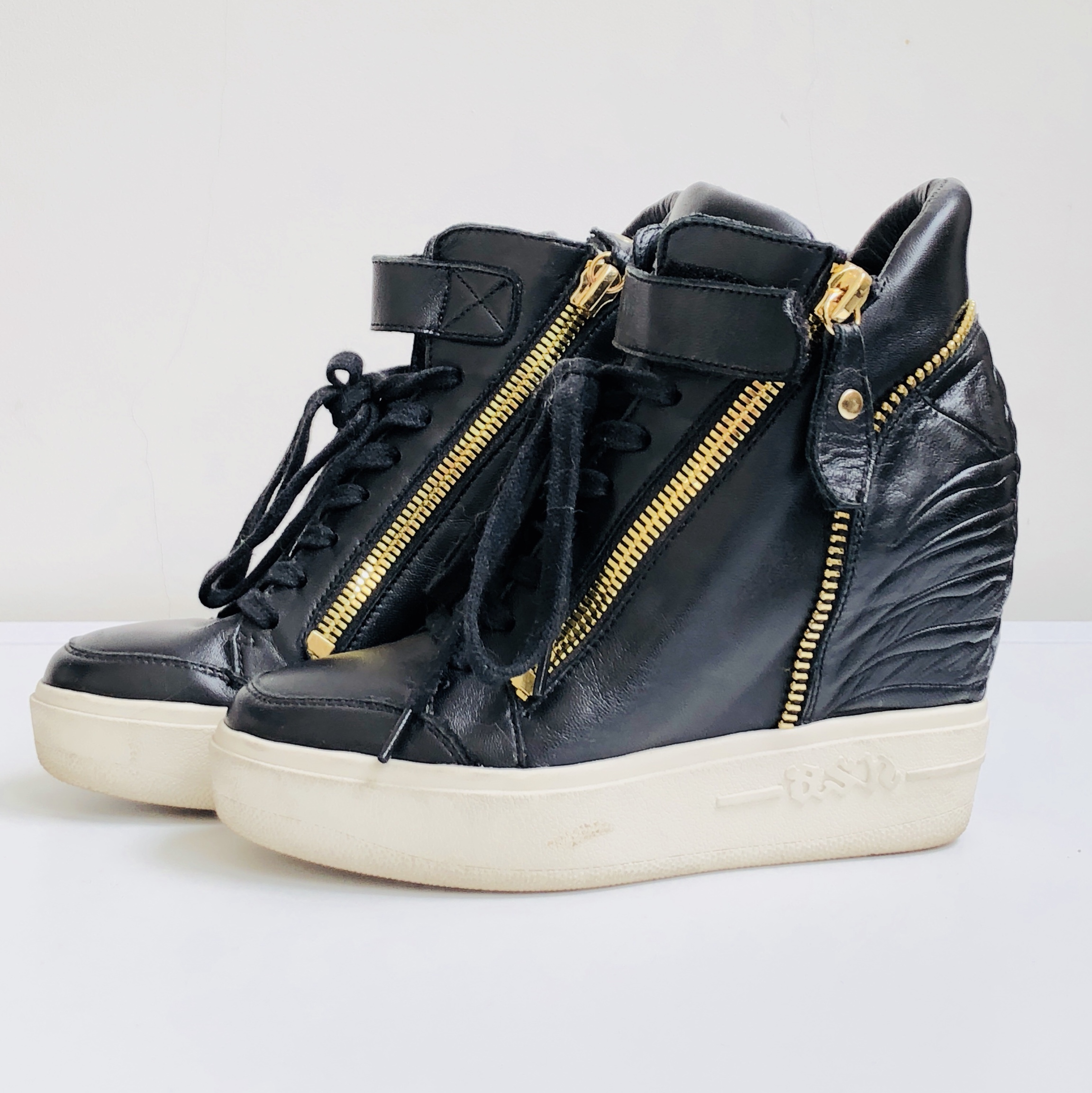 Ash black real leather wedge trainers