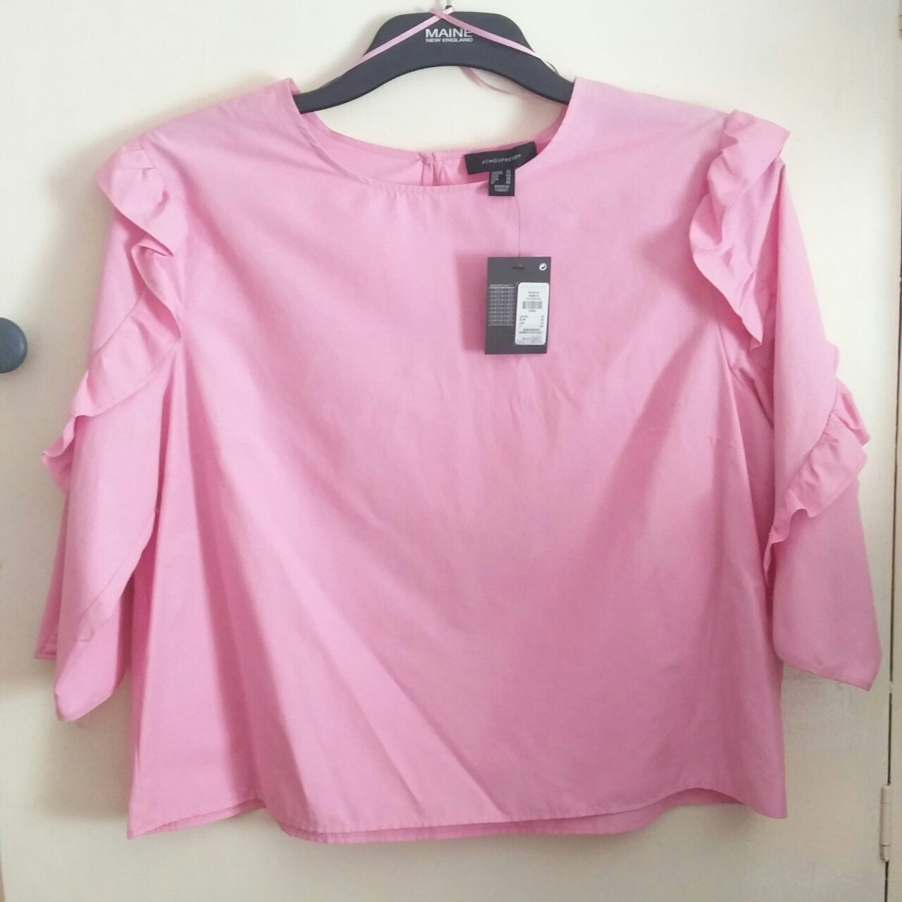 Baby Pink Primark Frill Sleeve Blouse Size: 20 but Depop