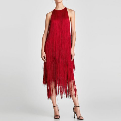 fff3b93d9be  charlottem83. last year. United Kingdom. Zara red fringed dress sold out  everywhere size medium like brand new ...