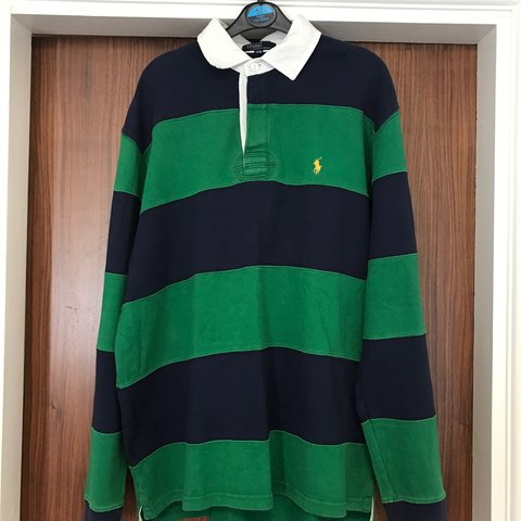 328e078ddf4 Ralph Lauren rugby polo / shirt, green and navy stripe, size - Depop