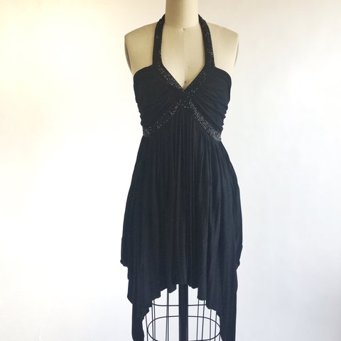 Black Halter Top Dress With Beaded Crisscross Detail And At Depop