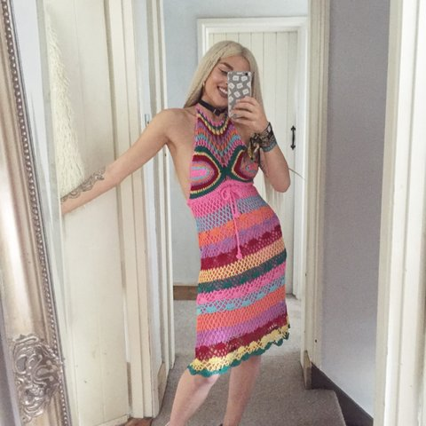 8d9ff8ae2eb @mikafrancis. 3 years ago. United Kingdom. Rainbow crochet midi halter dress  ...