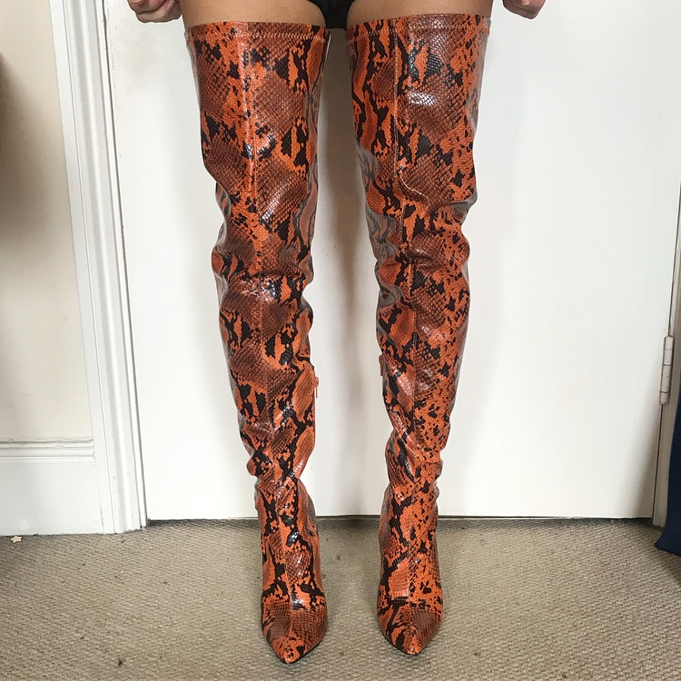 buy real ever popular special sales Faux snake skin rust orange thigh high boots! Size 5... - Depop