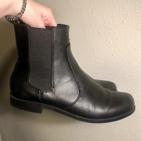 843571abb2 Black leather chelsea boots from H M! Size 41 so I think a a - Depop