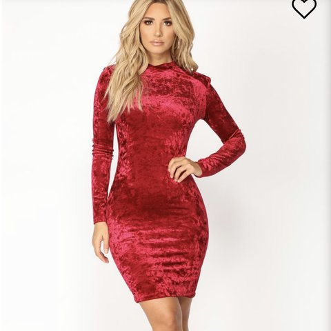 "fef684d0288 Burgundy ""Delana Velvet Dress"" Fashion Nova Size new Velvet - Depop"