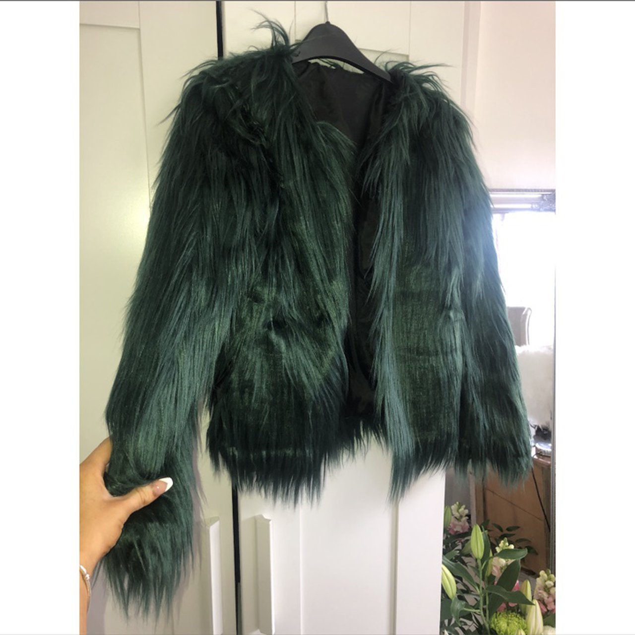 Get Emerald Green Faux Fur Coat Pics