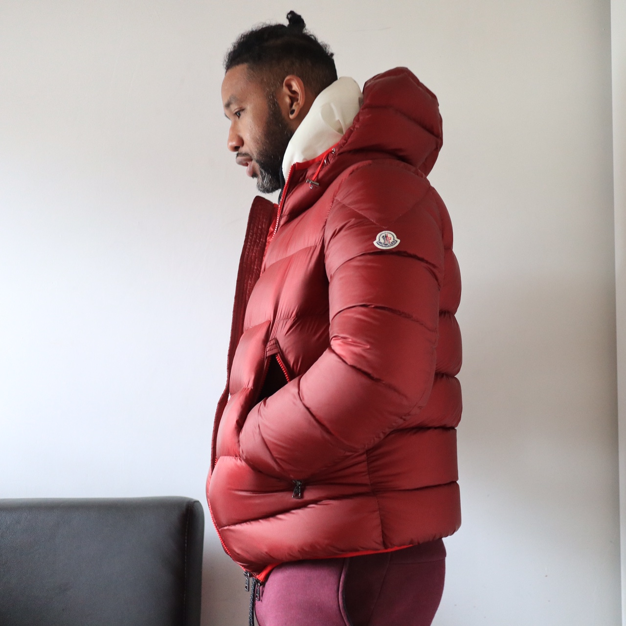 77db2593a Moncler Chauvon Hooded Down Jacket size 5 XL Red... - Depop