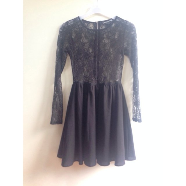 d017093128 @alaskaboutique. 5 years ago. Milton Keynes, UK. Missguided black lace  skater dress. Long sleeves. Top part ...