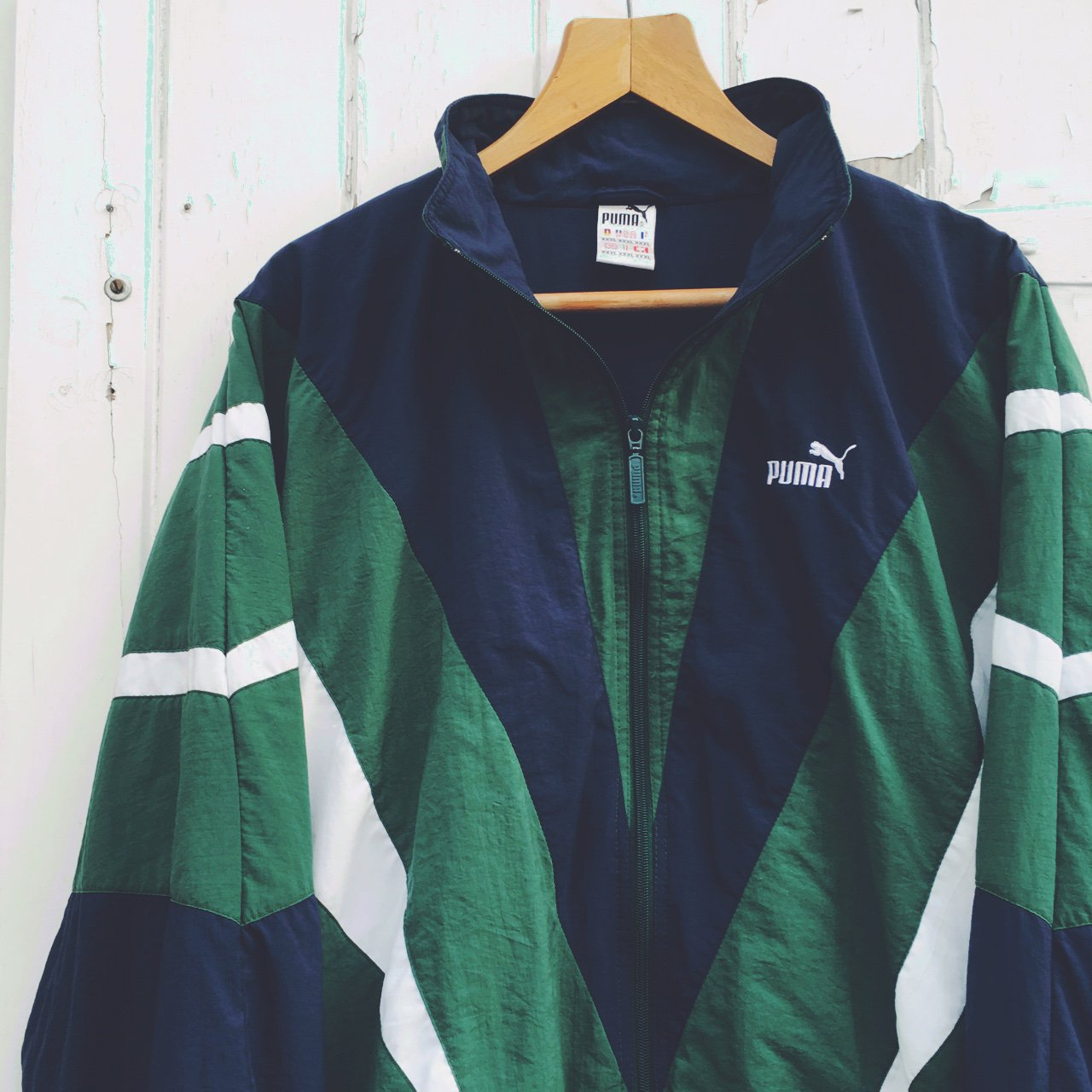 ed360fb610e2 VINTAGE PUMA OVERSIZED STRIPED TRACK JACKET IN FOREST GREEN