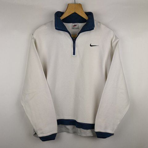 White Blue Navy amp; Zip Nike Oversized Depop Pullover Vintage 14 In afxw1Z