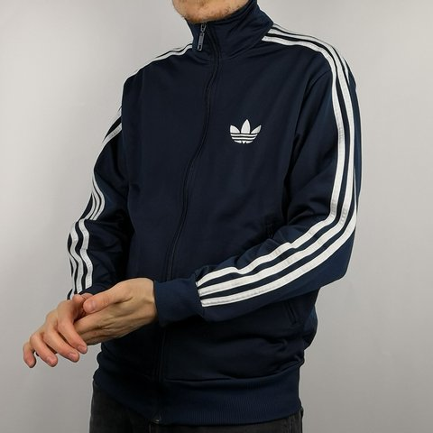 1dadae12692e94 VINTAGE NAVY BLUE   WHITE ADIDAS TRACK JACKET IN MENS SMALL! - Depop