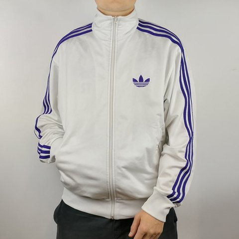 f6e6dcac3f765a VINTAGE OVERSIZED WHITE   PURPLE ADIDAS TRACK JACKET IN MENS - Depop