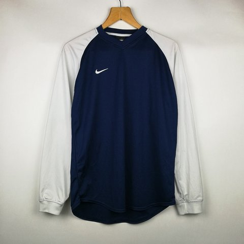 9a121726 VINTAGE NIKE NAVY BLUE & WHITE V-NECK L/S T-SHIRT IN MENS on - Depop