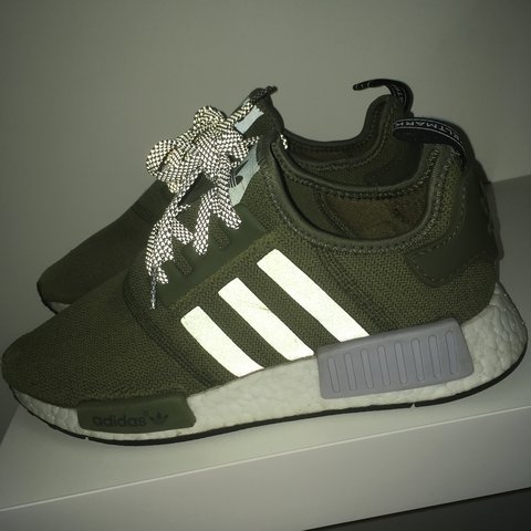 1e0471a02 Adidas NMD R1 olive green Footlocker exclusive Worn Size uk - Depop