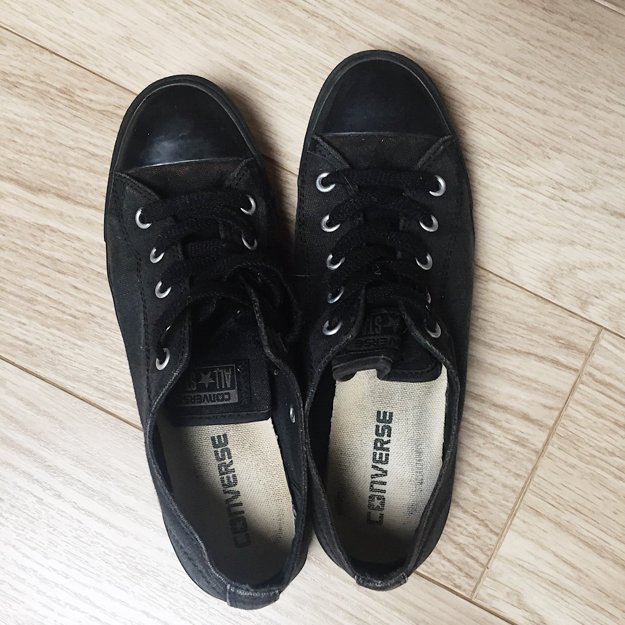 93031b2f822df6 All black converse Size 5 In good condition  converse - Depop