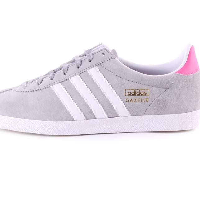 Grey Adidas Gazelle with pink heel, Size 6 , Bought...
