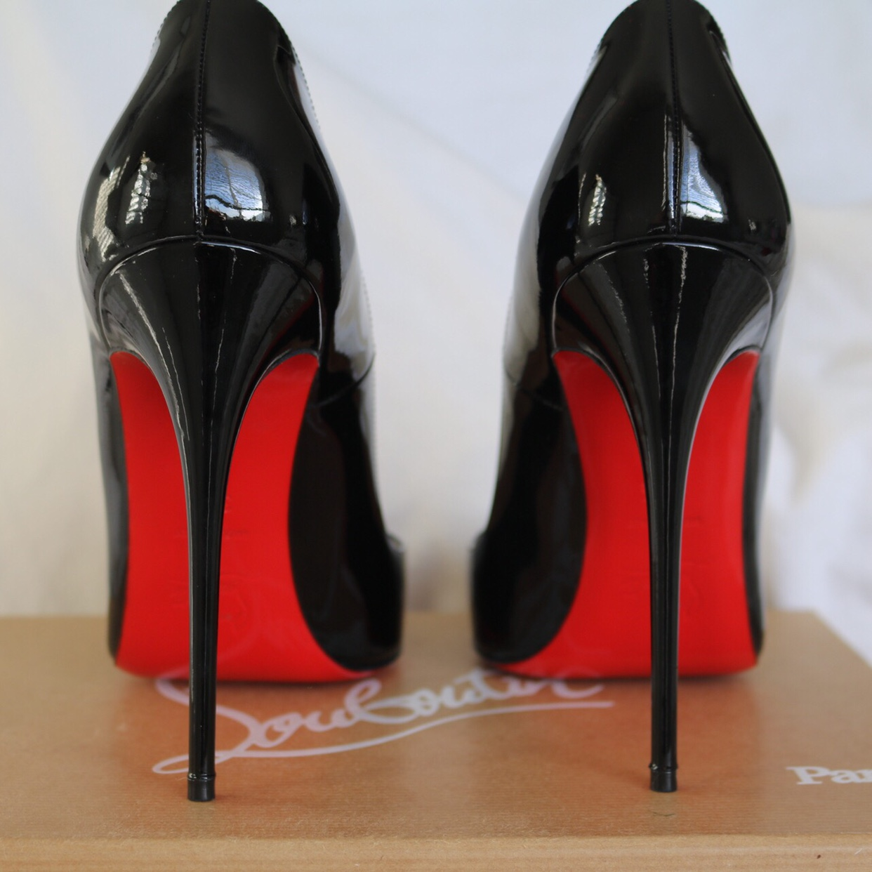 best loved fb538 7f39c Glossy patent black Louboutin heels. The sole has... - Depop