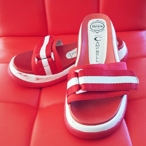 0d67dbfb56dc Handmade Jeffrey Campbell Sporty Red Slides Size 7 Worn Too - Depop
