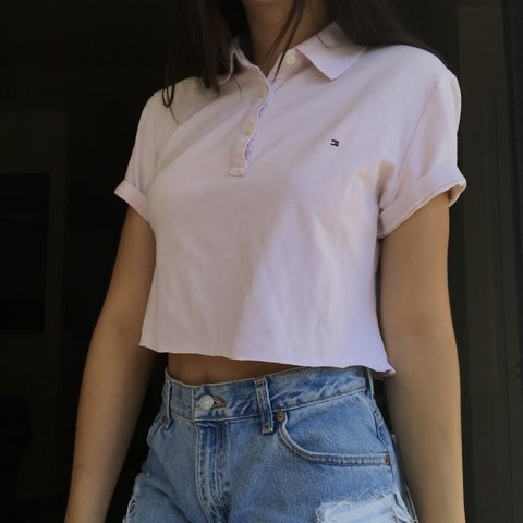 f56764eb 🌸PASTEL PINK TOMMY HILFIGER CROPPED POLO🌸 Super muted a a - Depop