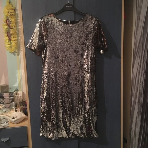 94935790 TOPSHOP TALL sequin mini dress. Size 12. Colour changing on - Depop