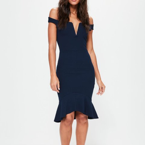 92438bf67bfd @walkingpoem. 10 months ago. Kings County, United States. Misguided Brand  Navy blue Mermaid style off-shoulder dress.