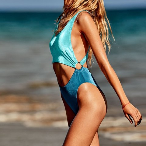 5f033fa7c1c @sisily. 4 months ago. United States. Victoria's Secret pink blue velvet  cutout one piece.