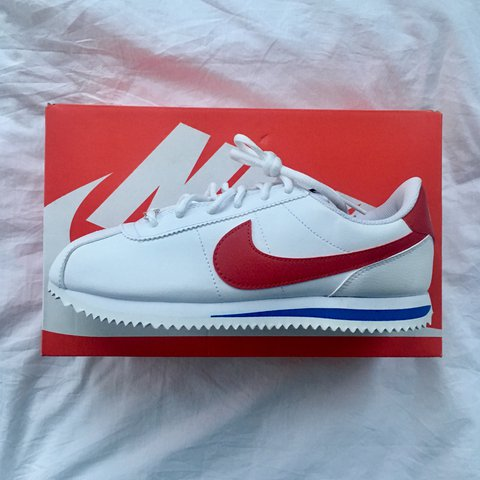 designer fashion 278ba 935d4 rosieff. 3 months ago. London, United Kingdom. Nike Cortez Leather  trainers in white red and blue.