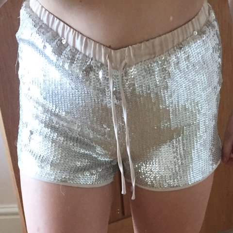 b68170e2 H&M sequin shorts, can be worn on hips or high waisted, only - Depop