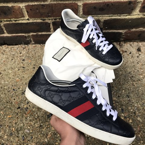 c6fa39292c4 100% Authentic Gucci ace navy colourway size 10 UK fits like - Depop