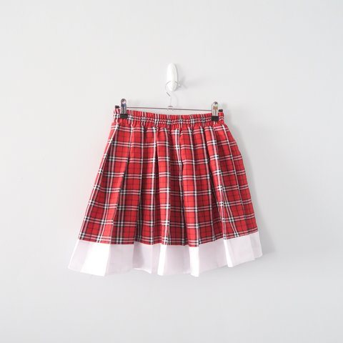 c8964046a @madelainey. 6 days ago. United Kingdom. Adorable 90s red tartan checked  pleated mini skirt with white trim. Labeled size M ...