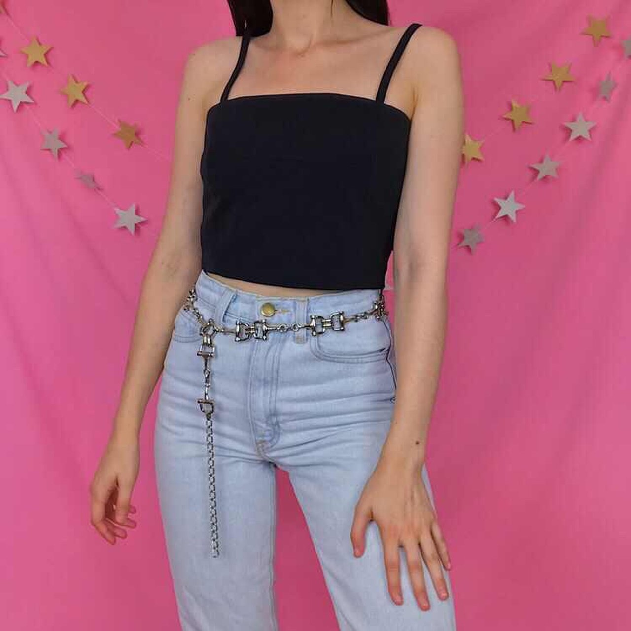 1ddd3869808a68 ⭐ Awesome Y2K vintage black straight neck crop top with a A - Depop
