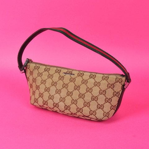 1de79d7c874 Gucci Pochette💖 Lovely Canvas GG Monogram Handbag. Has the - Depop