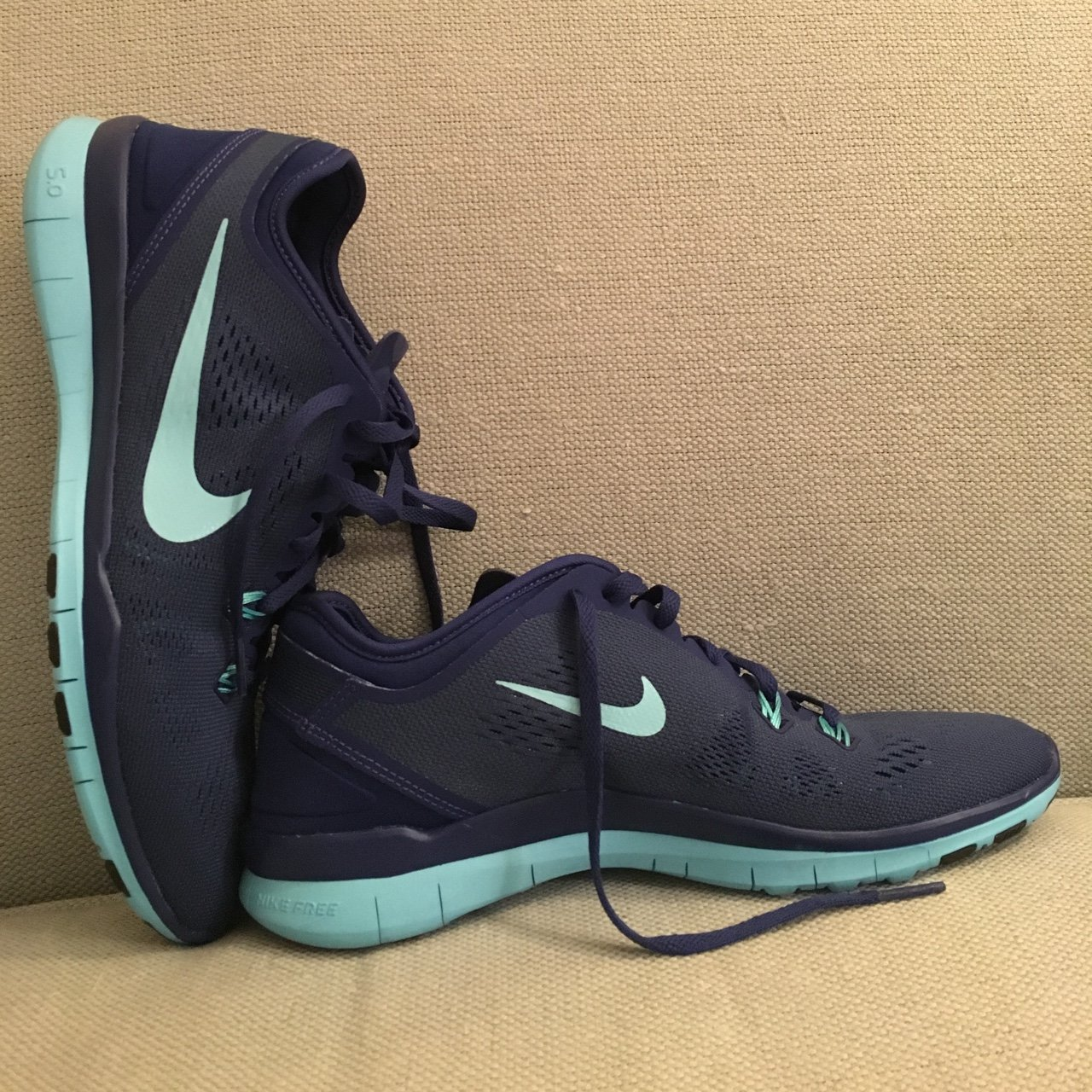 02430bcaebb8 Nike ID shoes never been worn navy blue with light blue They - Depop nike id