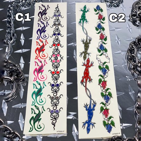 2c8a002a8 Y2K Gecko Tribal/Lizard Rose Vine Temporary Tattoo These are - Depop