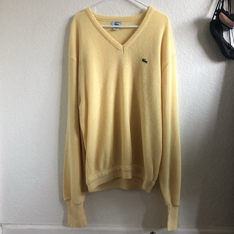 d5b3f6ae6387 Izod Lacoste yellow sweater 🍌 Pale yellow oversized sweater - Depop
