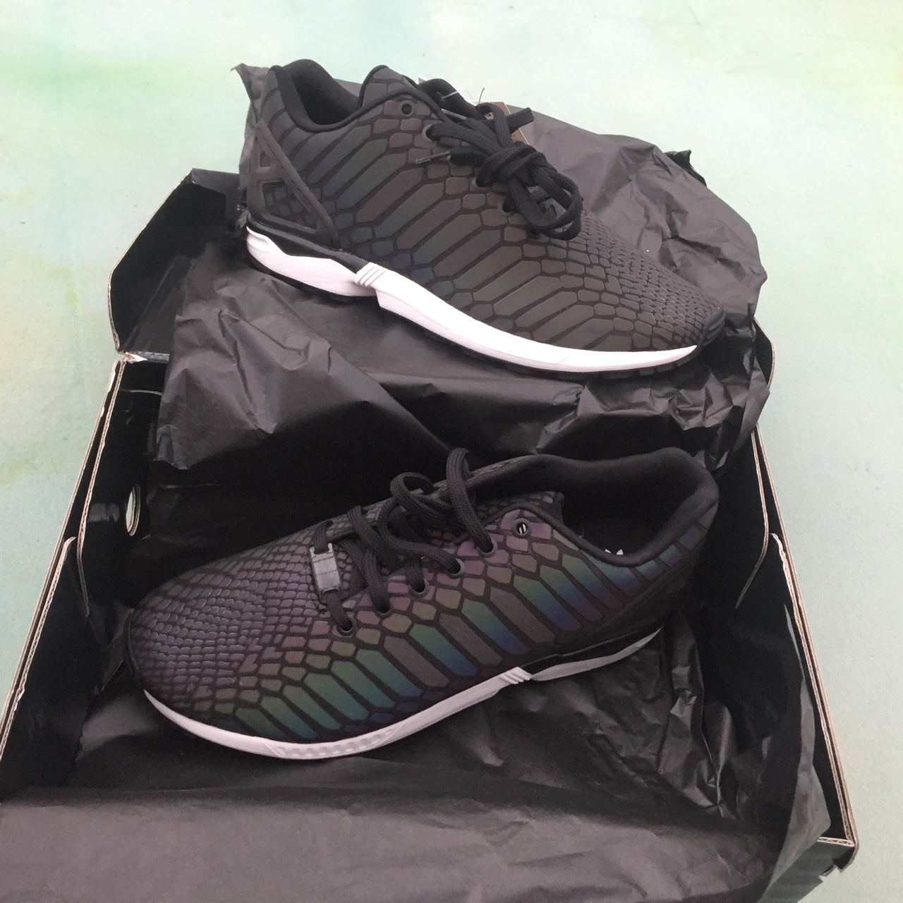 more photos b634b 38835 adidas Originals ZX Flux Xeno Snakeskin Reflective... - Depop