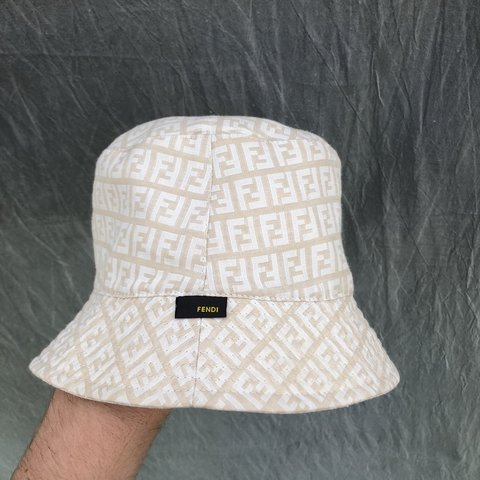 63a7c3bfc2b7d Fendi Zucca print monogram bucket hat Size not stated but as - Depop