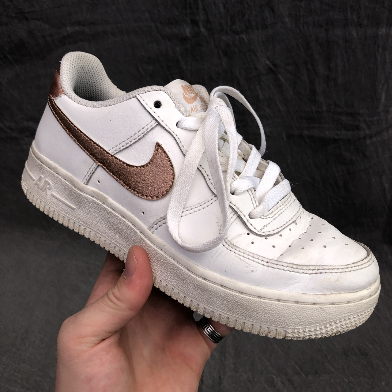 Nike Air Force 1 in white with shiny