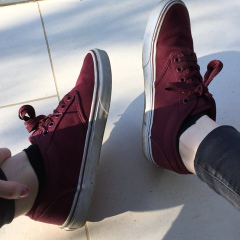 313955d620a9 Red/ maroon/ oxblood low-top vans with white base 8/10 payed - Depop