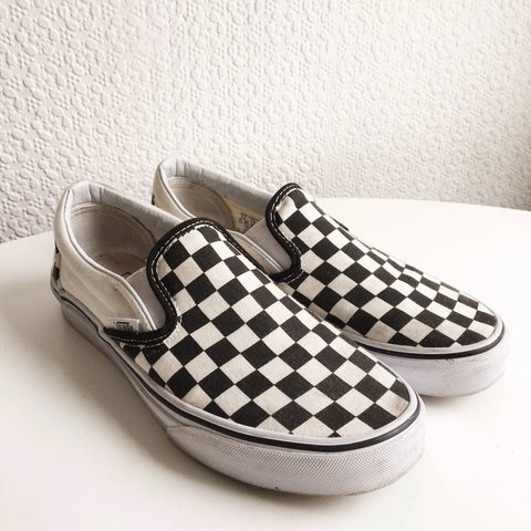 ON HOLD Black and white checkered slip on vans!! 🐧 Just in - Depop a987a6a78