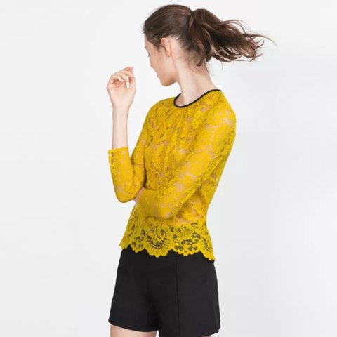 e21f9484 @felcx. 3 years ago. England, UK. Zara BRAND NEW WITH TAGS yellow oil  coloured lace top with short sleeves ...