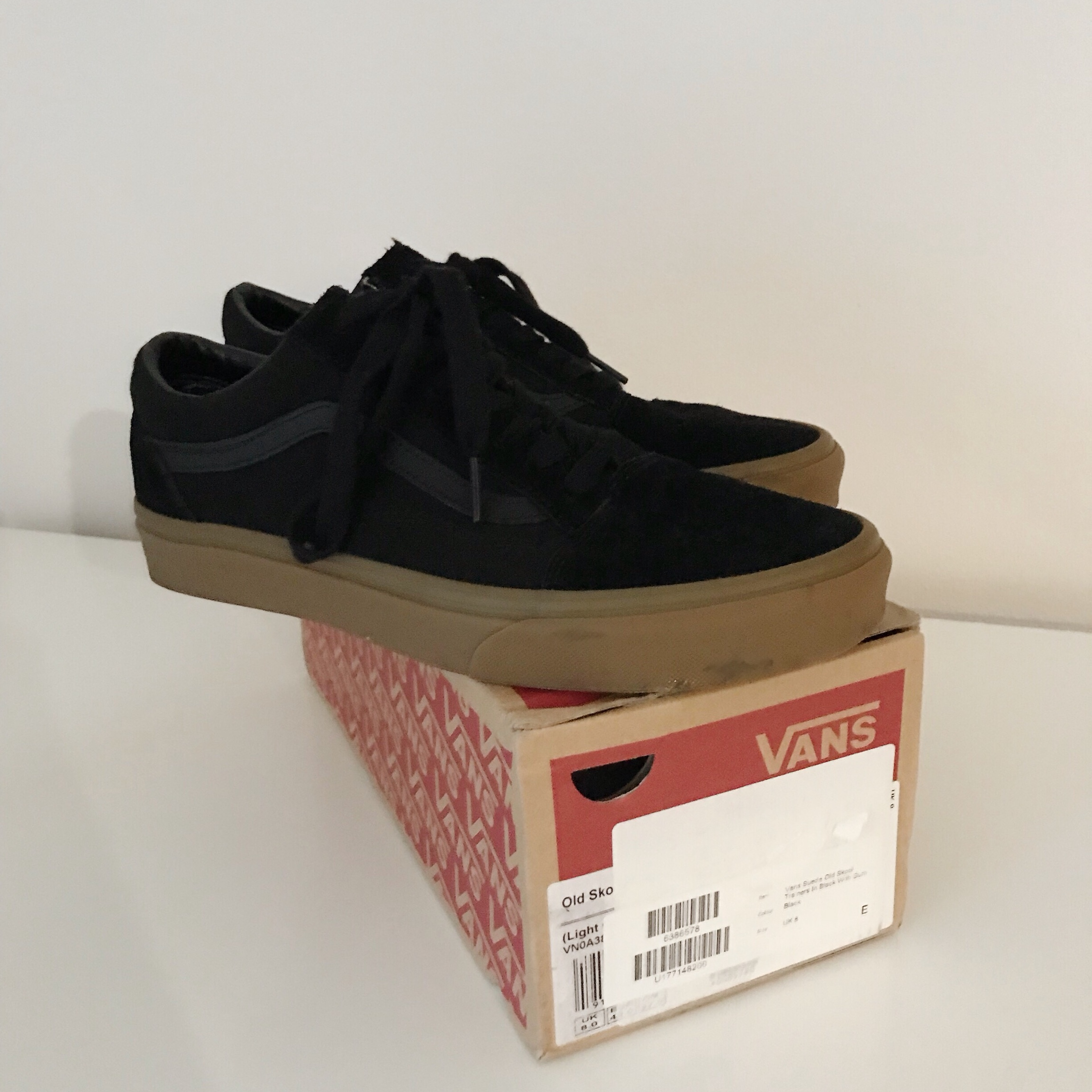 Black suede old skool vans trainers with gum sole | Depop