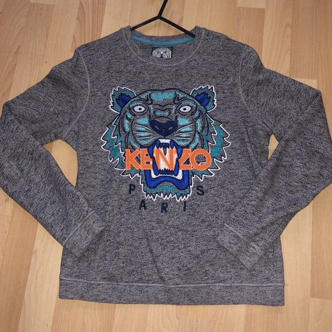 de25bae0 Authentic Kenzo grey tiger face jumper. Size M, I'm a size a - Depop